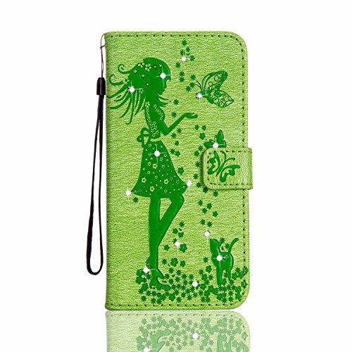 JIALUN-Telefon Fall Für Apple IPhone 6 u. 6s plus Fall-Abdeckung, reine Farben-Druck-Blumen, Mädchen mit Einbauschlitz, magnetische Wölbung öffnen die Telefon-Shell ( Color : Green ) Green