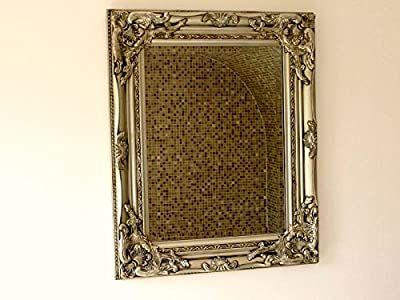Ornate French Vintage Style Antique SIlver Gilt Wall Mirror & Bevelled Glass - inexpensive UK light shop.