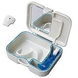 Carejoy Dental Europa Estilo Caja de dientes con espejo y dientes cepillo de limpieza para dentadura, retenedor y protector de deporte gris