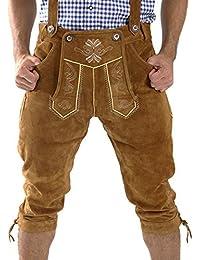 ALMBOCK Trachtenlederhose Herren Kniebund | Original bayerische Lederhose Herren Tracht | Trachtenhose Oktoberfest in vielen Farben von Gr. 46-60
