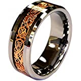 18K Rose Gold Plated Celtic Dragon 8mm Tungsten Carbide Wedding Band Ring Half Size in Ring Box