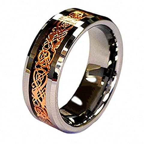 18K Rose Gold Plated Celtic Dragon 8mm Tungsten Carbide Wedding Band Ring in Ring Box