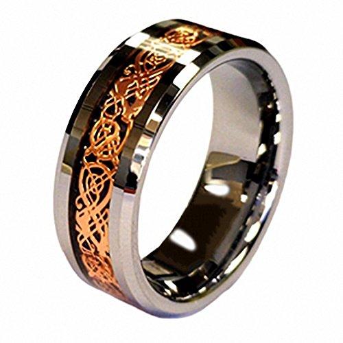 Anello in stile fede nuziale, placcato oro rosso 18 ct, con drago celtico, in tungsteno, 8 mm, in cofanetto regalo, tungsteno, 22, cod. QWTURA-8220100-UK - 22 Rose