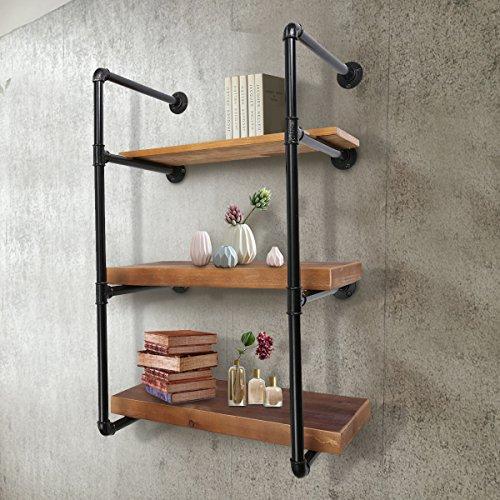 Jeteven retro rurale industriale mensola a muro kit 3 libreria scaffale di stoccaggio stand tubo mensola parete camera (senza pensione)
