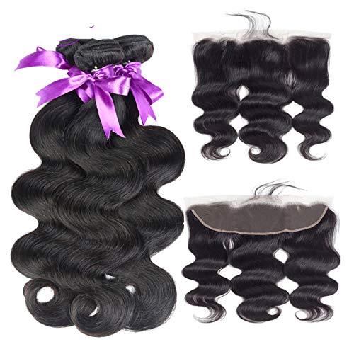 Natürliche Haarteile Malaysische Körperwelle 3 Bundles mit 13 * 4 Lace Frontal Closure Mit Babyhaar-Webart Bundles Nicht Remy Haarverlängerung Perücken (Length : 22 24 24 Cl18) - Malaysische Natürliche