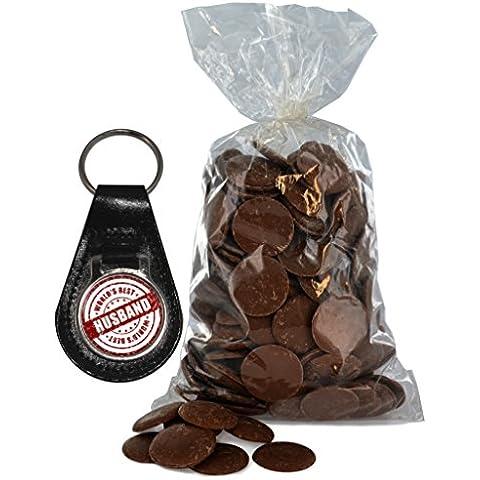 Del Mondo Best Husband chiusura Design Portachiavi in pelle e bottoni borsa di cioccolato al latte 200g