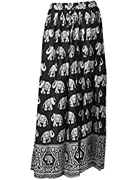 DIAMO Women's Rayon Skirt (Black & White)