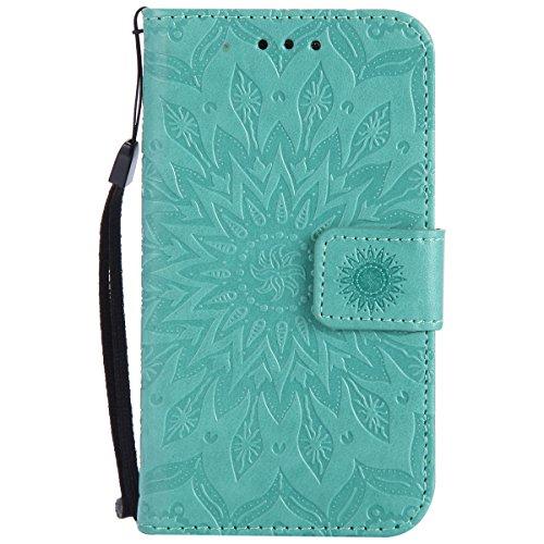 Kompatibel mit Handyhülle Galaxy Core Prime Leder Tasche Schutzhülle Handy Tasche Luxus Schöne Mandala Blumen Muster Ledertasche Leder Hülle Bookstyle Klapphülle Flip Case Cover,Grün