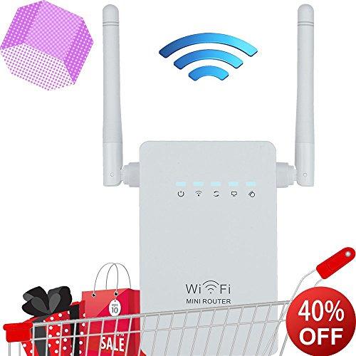 WOSUK rete Range Extender WiFi Booster Wireless AC300 Mini router/ripetitore/AP WIFI Booster con antenne e accesso wireless n POIN Booster di segnale WPS bianco White Dual Antennas