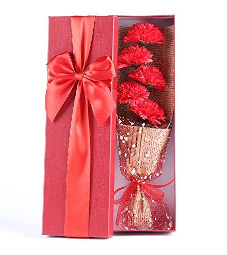 5 Claveles perfumados rojos, empaquetados en una caja elegantemente, regalo rojo, ideal para regalo Día de la Madre/aniversario/cumpleaños y día de San Valentín