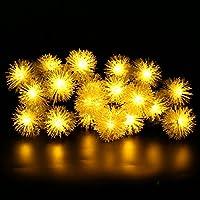LED Striscia Luminosa LED Solare, BIRUGEAR LED Luci Solare Decorazioni Natalizie Catena Luci per Esterno, Prato, Arredamento, Casa, Patio, Giardino, Matrimonio, Festa, Decorazioni Stagionali - Bianco Caldo / 20 LED / Palle