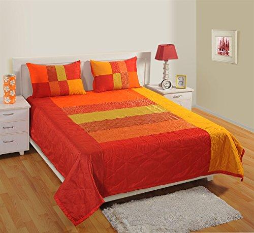 1Gesteppte Tagesdecke mit 2Kissenbezügen für Doppelbett, Kunstseide und Brokat Woven, Multi Farbe Volle Gesteppte Tagesdecke
