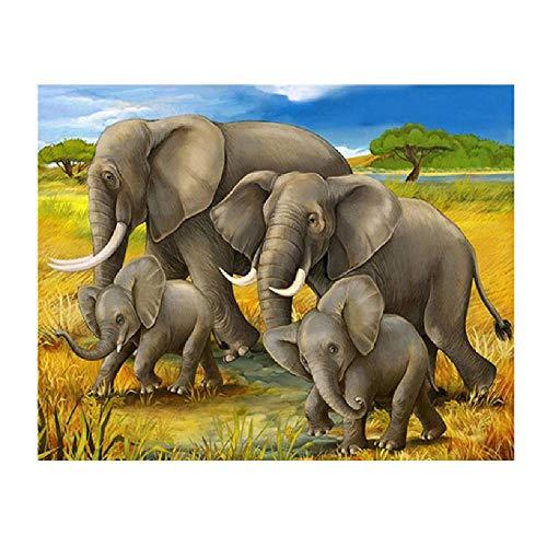 Puzzle Adulto 1000 Piezas 3D Puzzle Cuatro Elefantes De Pasto Amarillo Bricolaje...