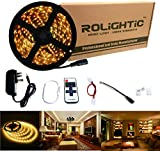 RoLightic LED Strip Light 5M 300leds Warm White 3000K 3528 Led Strip Tape Lights Full Kit with RF Remote Dimmer & 2A Power Supply for Home Lighting, Indoor Decoration