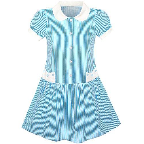 KW21 Sunny Fashion Vestido para niña Azul Blanco Raya Collar Colegio Uniforme Corto Manga 5 años