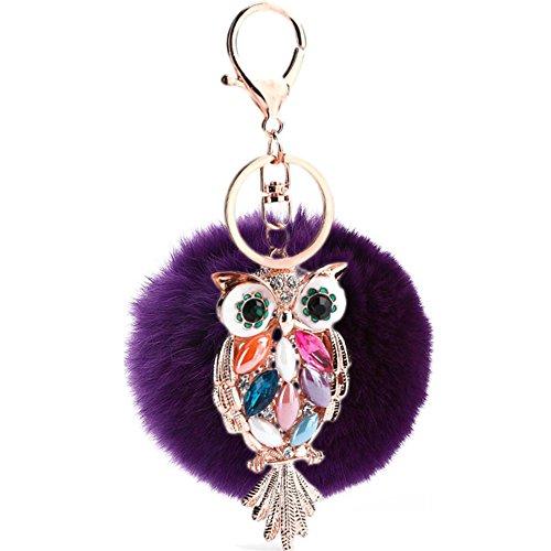 Hangnuo 8cm bola de piel sintética con búho Pom Pom llavero encantos para las mujeres bolsos coche clave anillo