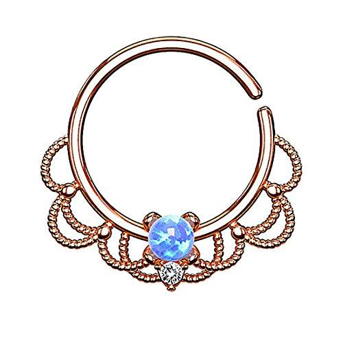 Piercingfaktor Piercing Ring Continuous Tribal mit Opal Ohr Nase Lippe Brust Intim Septum Tragus Helix Hufeisen Horseshoe Rosegold Blau