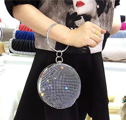 ruiio Lady rund Diamant Luxus Abend Handtasche Hochzeit Party Clutch Make-up Taschen Black,黑色