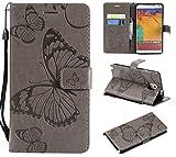 BONROY Handyhülle Schutzhülle mit kartenfach Lederhülle Schmetterling Leder Flip Case Cover Handy mit Magnet Standfunktion für Samsung Galaxy Note 3-(3D Schmetterling-Grau)