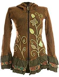 Vishes – Alternative Bekleidung – Handbestickte Blumen Sommerjacke aus Baumwolle mit Zipfelkapuze und Rüschen – stonewash