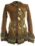 Vishes - Alternative Bekleidung - Handbestickte Blumen Sommerjacke aus Baumwolle mit Zipfelkapuze und Rüschen - Stonewash grasgrün 34