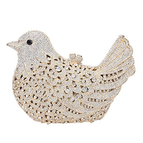 Bonjanvye Glitter Rhinestone Bird Clutch Purses Evening Clutch Bag for Girls Gold Fiesta Apricot