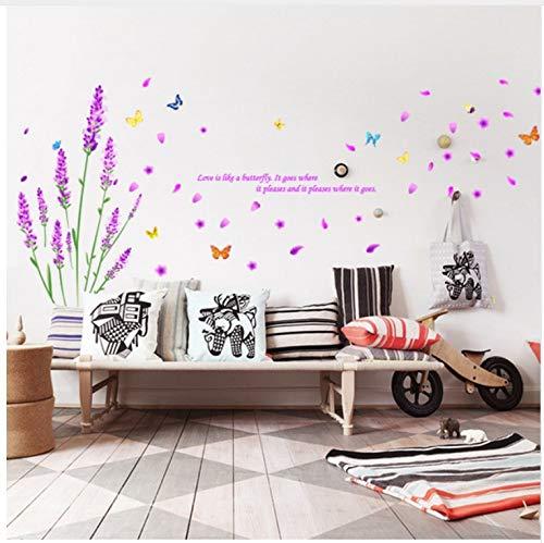 Lavendel Wandtattoo Aufkleber Home/Store Decor Diy abnehmbare Art Vinyl Wandbild für Wohnzimmer/Sofa/Schlafzimmer/Tv Hintergrund