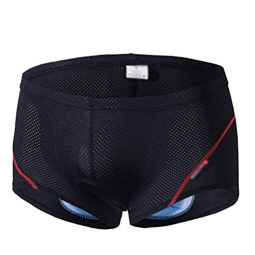 CHENGYANG Herren Radfahren Unterwäsche Hautfreundlicher Shorts 3D Gepolsterte Schwamm Kissen (Schwarz+Rot Line, M)