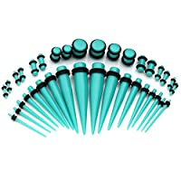 PiercingJ 36pcs 14G-00G (1.6mm-10mm) Acrylic Piercing Tapers & Plugs Gauge Kit Ear Stretching Starter / Ear Expander (Many Colors)