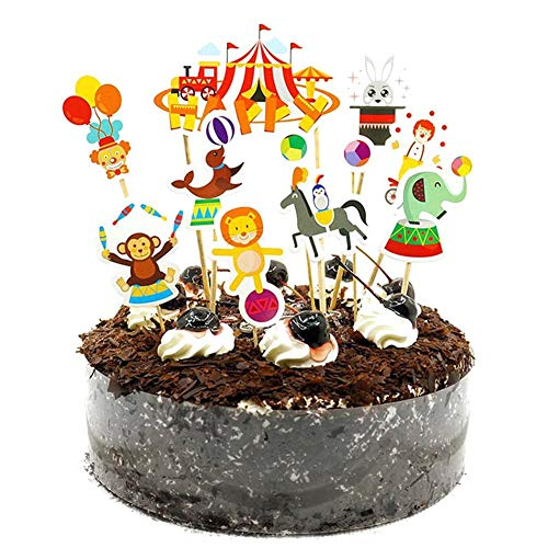koration Cake Toppers Kuchen Deko Tortenstecker, Dinosaurier Auto Zirkusclown Geburtstagsfeier Hochzeit Baby-Dusche-Dekorationen Kinder Geburtstag ()