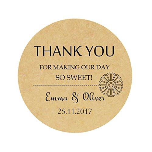 iert Blume Hochzeitsaufkleber - Wedding Thank you sticker - 4 cm Runde KRAFT Danke Etiketten für die Hochzeit,Gastgeschenk,Tischdeko,Flaschen,Tüten,Briefen,Einladungen - Rd 036 ()