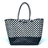 EINFÜHRUNGSPREIS XXL Tasche Flechttasche Korbtasche Einkaufstasche Shopper Strandtasche schwarz/weiß kariert geflochten BLACK&WHITE
