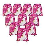 BeeGreen Einhorn Partyzubehör Geschenktüte Für Kinder Mitgebsel Kindergeburtstag Tunnelzug Beutel Kordelzug Partytüten Schuhbeutel 10 Stück (Einhorn)
