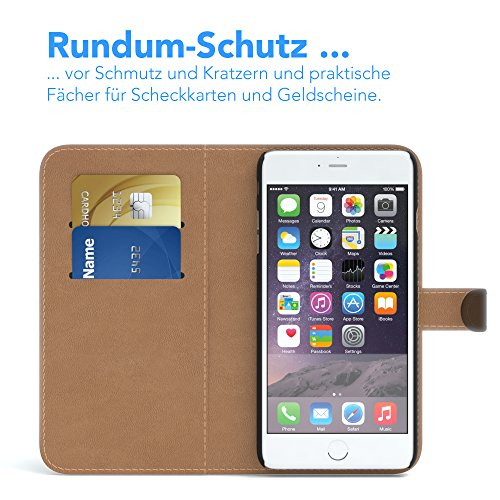Apple iPhone 6S Plus / 6 Plus Tasche, EAZY CASE Book-Style Case Jeans, Premium Handyhülle mit Kartenfach, Schutzhülle Geldbeutel mit Standfunktion, Wallet Case in Hellgrau Braun - Uni