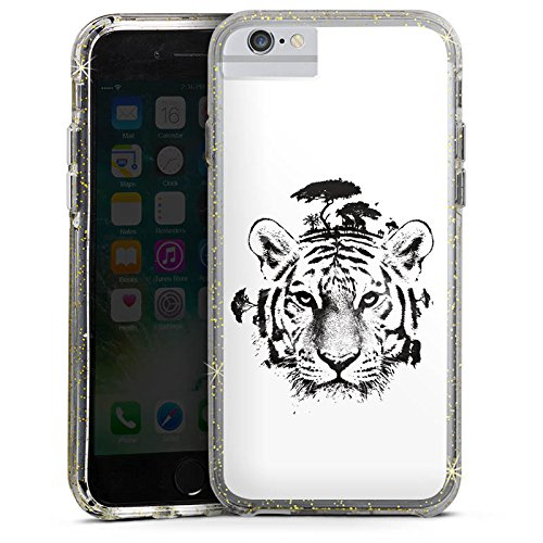 Apple iPhone X Bumper Hülle Bumper Case Glitzer Hülle White Tiger Art Bumper Case Glitzer gold