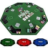 Maxstore Faltbare Pokerauflage für bis zu 8 Spieler, achteckig, Maße 120x120 cm, MDF Platte, 8 Getränkehalter, 8 Chiptrays, grün