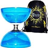 Diabolo Cyclone Quartz (Blau) Freiläufer (mit Dreifache kugellager) +Reisetasche! *Ohne Handstäbe.