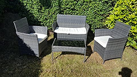 NEW 4PC GARDEN RATTAN PATIO FURNITURE SOFA CHAIR TABLE SET OUTDOOR CONSERVATORY- grey by Outdoor Living