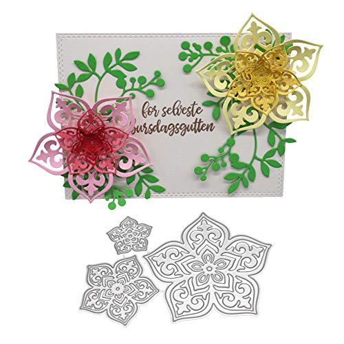 zmigrapddn Troqueles,Diseño de flores en 3d Troqueles de corte plantilla moldes para hacer álbumes de recortes Álbum Tarjeta de papel Artesanía, Metal
