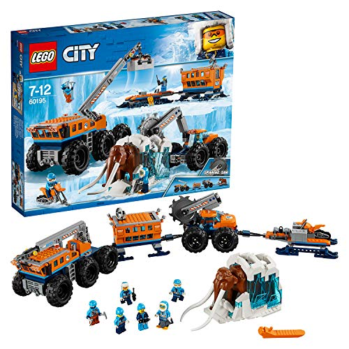 LEGO 60195 City Arctic Expedition Arctic Mobile Exploration Base Building Set with Crane Truck, Lab Trail, Snowmobile, Mammoth, Adventure Toys for Kids 6-12 Years Old