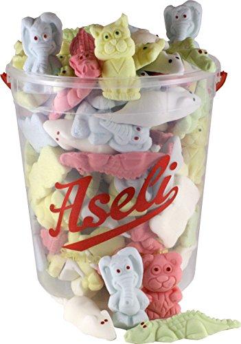 Preisvergleich Produktbild 1000g Aseli Bunter-Mix / fruchtiger Schaumzuckermix / viele verschiedene Formen und Aromen / wiederverschließbarer 1kg Eimer / Marshmallow Tiere / Figuren handgefertigt / glutenfrei / laktosefrei