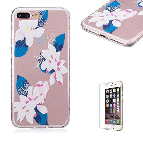 Für iPhone 7 Plus 5.5 Zoll [Scratch-Resistant] Weichem Handytasche Weich Flexibel Silikon Hülle,Für iPhone 7 Plus 5.5 Zoll TPU Hülle Back Cover Schutzhülle Silikon Crystal Kirstall Durchschauen Clear  Weiß Sonnenblume