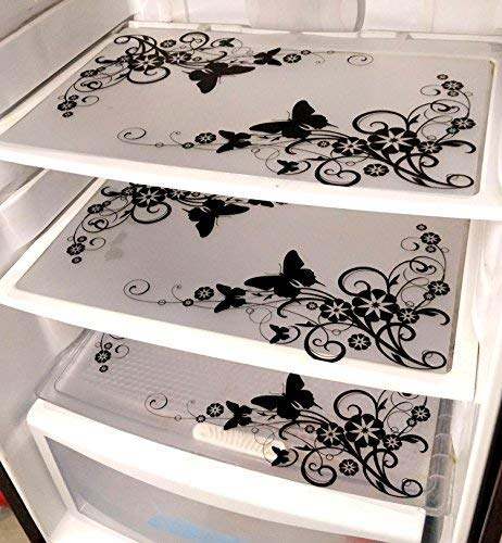 Generic PVC Classic Refrigerator Drawer mat (Black and White)- Set of 6