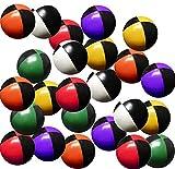 Set 24 Jonglierbälle 57mm 70g jedes (Bi-Farbe je 4) Black & Red, Black & Green, Black & Yellow & Orange, Schwarz und Violett