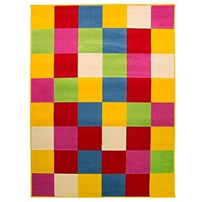 Colourful & Retro Square Blocks Floor Carpet Rug in Multi Colours - Living Room - cheap UK light shop.