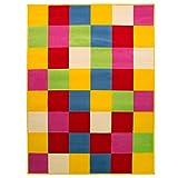 """& blocchi colorati retrò per tappeto da pavimento, in colori assortiti, salotto, colore: nero, Polipropilene, Multicolore, 120x160cm (4'0""""x5'3"""")"""