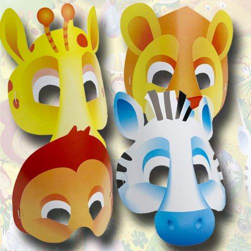 Maske Papier 6 Stück Safari (Erwachsene Safari Kostüm Für)