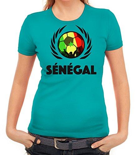 ShirtStreet Wappen Soccer Fussball WM Fanfest Gruppen Fan Wappen Damen T-Shirt Fußball Senegal karibikblau