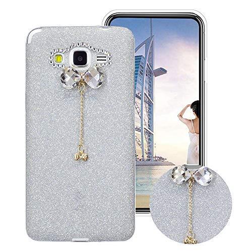 Glitzer Bling Hülle für Samsung Galaxy Grand Prime G530, Obesky Weich TPU Silikon Handyhülle Luxus Diamant Bow-knot Anhänger Designer Schutzhülle für Samsung Galaxy Grand Prime G530, Silber -