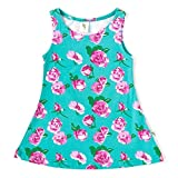 Cucumber Sleeveless Frock Rose Flower Pr...